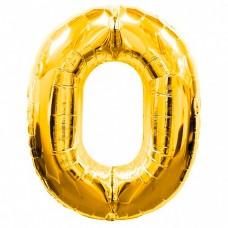 Шар фольгированный цифра 0 (ноль) золото