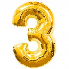Шар фольгированный цифра 3 (три) золото
