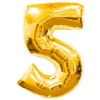 Шар фольгированный цифра 5 (пять) золото