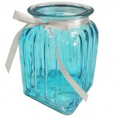 Стеклянная ваза Ханна 18 см, голуба...