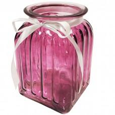 Стеклянная ваза Ханна 18 см, розова...