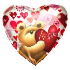 Шар фольгированный Люблю с медвежонком, сердце