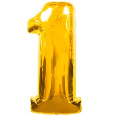 Шар фольгированный цифра 1 (единица) золото
