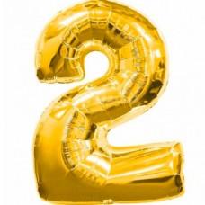 Шар фольгированный цифра 2 (два) зо...