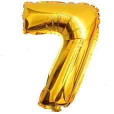 Шар фольгированный цифра 7 (семь) золото