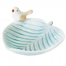 Блюдо керамическое Птичка на листоч...