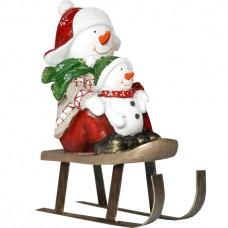 Сувенир Снеговик с малышом на санка...