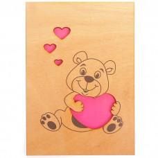 Открытка деревянная Мишка с сердцем