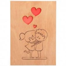 Открытка деревянная Мальчик и девочка