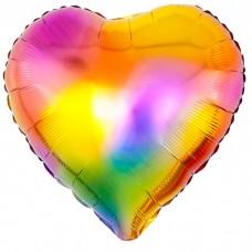 Шар фольгированный Сердце, разноцве...