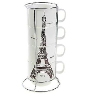 Набор кружек Париж на подставке 180 мл